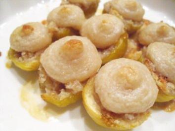 Desserts: Feigen mit Honig-Walnuß-Marzipan-Haube - Rezept