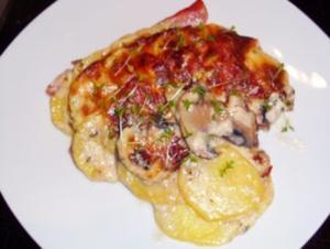 Beilage: Kartoffel-Pilz-Gratin mit Schinken - Rezept