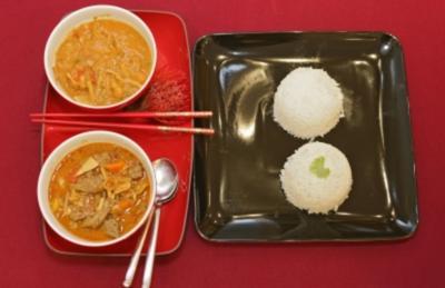 Thai Curry rot und gelb mit Rind, Tintenfisch u. Scampi (Margarethe Schreinemakers) - Rezept