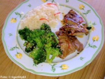 Drachenschnitzel mit Brokkoli und Reis - Rezept