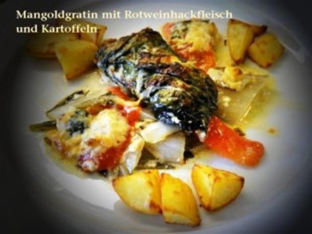 Mangold-Gratin mit Rotwein-Hackfleisch - Rezept