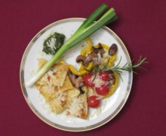 Lachsravioli mit Dill-Pesto und Ofengemüse - Eigelstein - Rezept