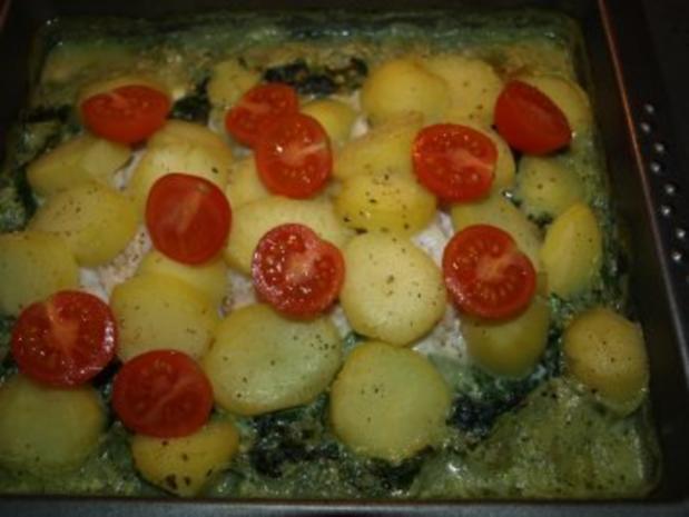Dorsch im Spinatbett mit Kartoffeldecke - Rezept - Bild Nr. 10