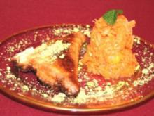 Möhren-Orangen-Salat mit Zimtdressing, dazu Briuats mit Käsefüllung und Pistazien - Rezept