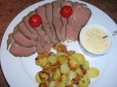 Remouladensauce (meine Variante) zu kaltem Rindsfilet mit Bratkartöfflechen - Rezept
