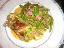 Rouladen mit Kräuterfrischkäse und Chorizo gefüllt und Prinzessbohnen - Rezept