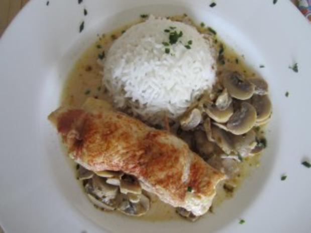 Hühner-Cordon-Bleu-Rouladen mit Champignonsauce - Rezept