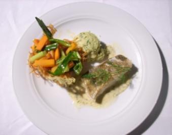 Zanderfilet mit glasiertem Gemüse im Kartoffelnest und Petersilienwurzel - Rezept