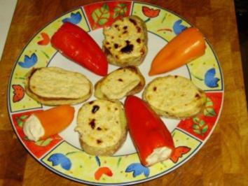 Kleine Paprika gefüllt mit Käsecreme - Rezept