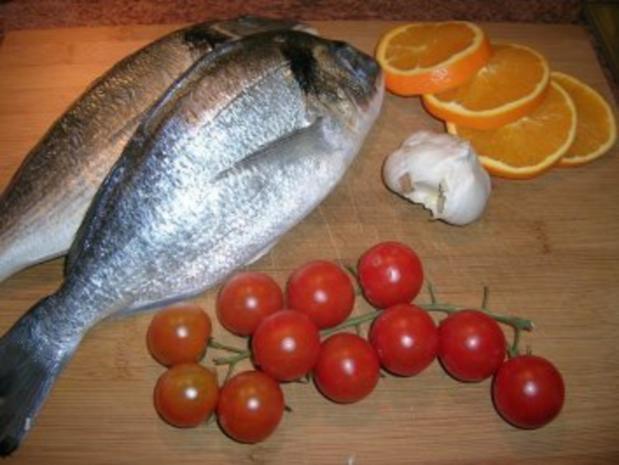 gebratene Dorade mit Oliven, Orangen, Petersiliensauce - Rezept - Bild Nr. 3