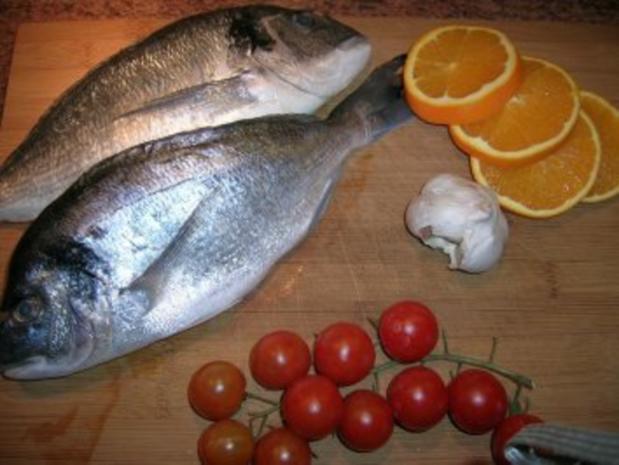 gebratene Dorade mit Oliven, Orangen, Petersiliensauce - Rezept - Bild Nr. 4