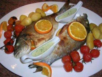 gebratene Dorade mit Oliven, Orangen, Petersiliensauce - Rezept