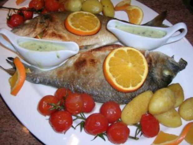 gebratene Dorade mit Oliven, Orangen, Petersiliensauce - Rezept - Bild Nr. 8