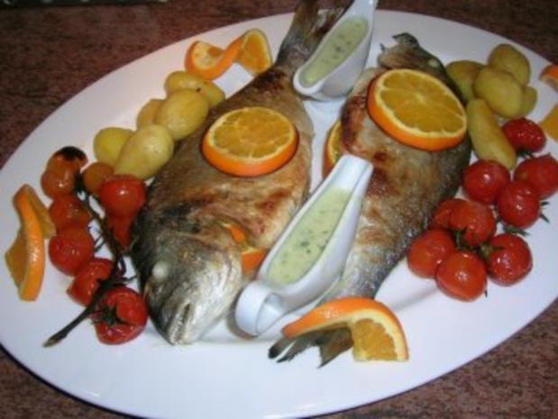 gebratene Dorade mit Oliven, Orangen, Petersiliensauce - Rezept - Bild Nr. 2