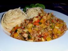 Tatar-Gemüse-Bolognese mit Spaghettitürmchen - Rezept