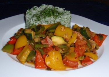 Buntes Gemüse mit Basmatireis - Rezept