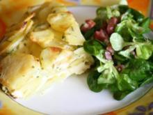 Kartoffeltortilla mit Feldsalat - Rezept