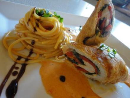 Putenröllchen mit Paprika Sauce und Spaghetti Nest - Rezept