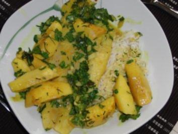Fisch : Pangasius in Currysoße und Apfel mit viel Kräuter, serviert mit Basmati-Kokos-Reis - Rezept