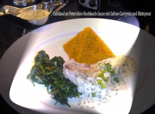 MIKROWELLENDAMPFMENU - Cabillaud an Kraeuter-Sauce mit Safran-Curryreis und Blattspinat - Rezept