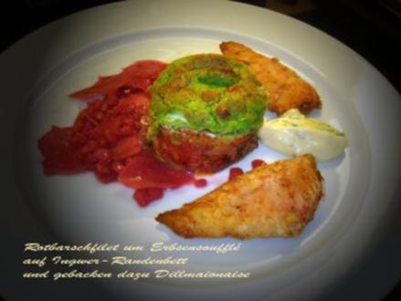 Rotbarsch-Filet um Erbsen-Soufflé auf Ingwer-Randenbett und gebacken dazu Dillmayo - Rezept