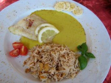 Kabeljaufilets auf Bananen- Curry- Safransoße... - Rezept