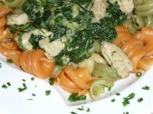 Pasta tricolore mit Spinat - Rezept