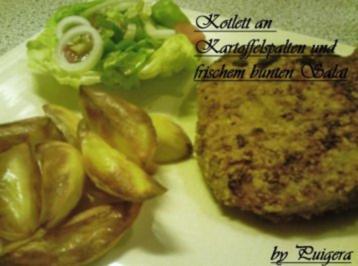 Kotelett an Kartoffelspalten und frischem Salat - Rezept