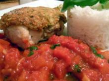 Hähnchenbrust unter Pistazienhaube mit Tomaten-Apfel-Confit und Basmati-Reis - Rezept