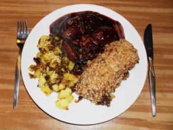 Haferflockenschnitzel an Rotwein-Schalotten - Rezept