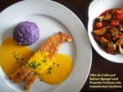Seelachs auf Safranspiegel und violettem Pourrée - Rezept