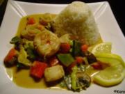 Wok: Garnelen-Fisch Curry mit Gemüse - Rezept