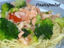 Spaghetti mit Broccoli-Lachs - Rezept