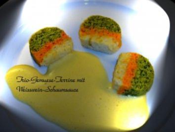 Rezept: Trio-Gemuese-Terrine mit Weisswein-Schaum