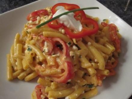 Makkaroni mit Paprika-Hüttenkäse-Sauce - Rezept