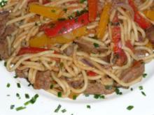 Gemüse - Leber mit Spaghetti - Rezept