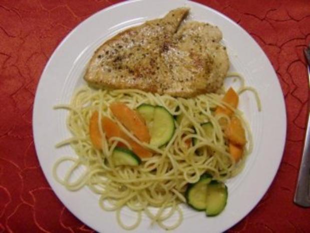 Putenschnitzel im Spaghetti Nest – Möhren und Zucchini Gemüse - Rezept - Bild Nr. 7