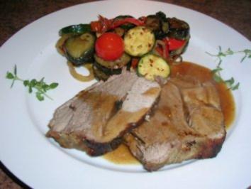Lammkeule nach italienischer Art mit lauwarmem Antipasti-Salat - Rezept