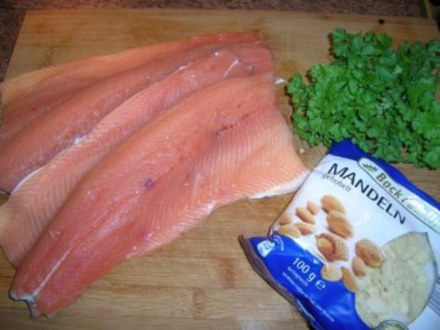 Forellenfilets mit Mandelkruste an grünem Spargel und Rote Beete Reis - Rezept - Bild Nr. 4