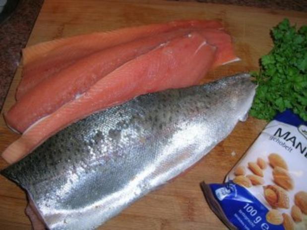 Forellenfilets mit Mandelkruste an grünem Spargel und Rote Beete Reis - Rezept - Bild Nr. 2
