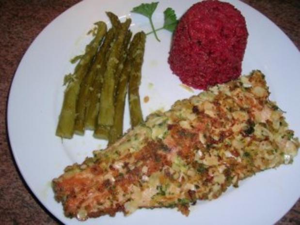 Forellenfilets mit Mandelkruste an grünem Spargel und Rote Beete Reis - Rezept - Bild Nr. 5
