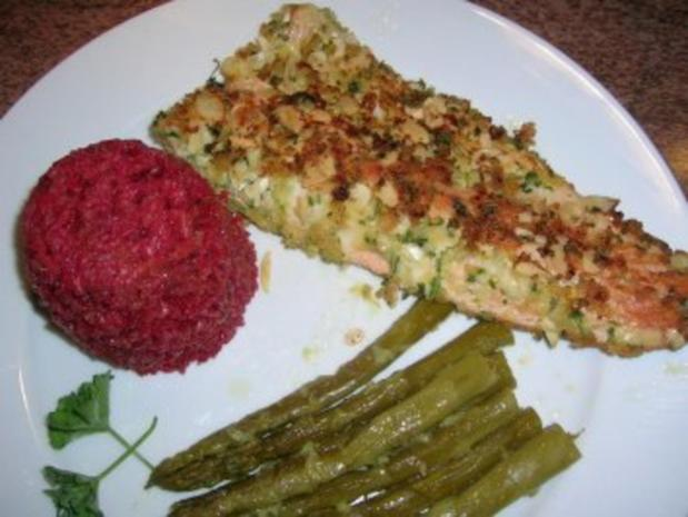 Forellenfilets mit Mandelkruste an grünem Spargel und Rote Beete Reis - Rezept - Bild Nr. 9