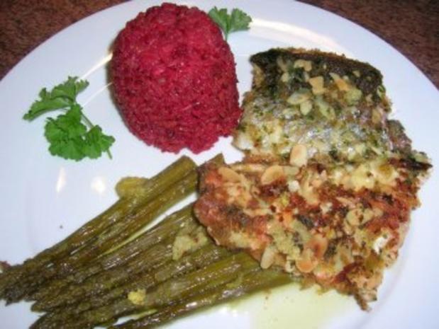 Forellenfilets mit Mandelkruste an grünem Spargel und Rote Beete Reis - Rezept - Bild Nr. 11