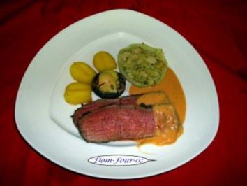 Roastbeef mariniert mit Thymian, bunten Pfeffer Öl ,Knobi ,Zwiebeln und Senf - Rezept