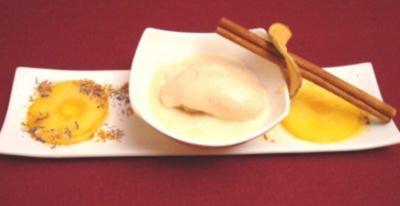Zimteis mit karamellisierten Calvadosäpfeln - Rezept