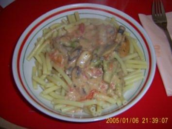 Champignons-Brokoli-Sahne-Soße - Rezept