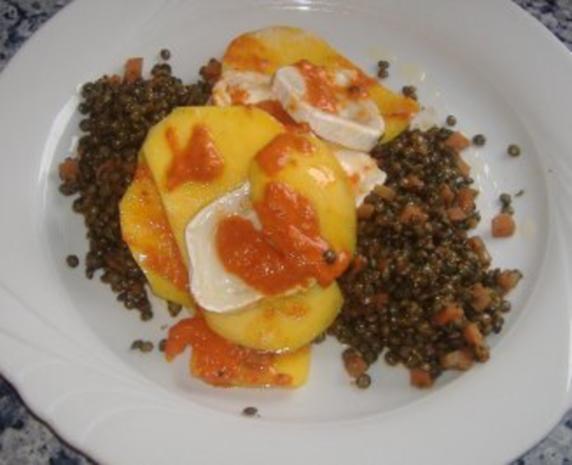 Linsensalat mit Ziegenkäse und Mango in Chili-Vinaigrette - Rezept