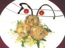 Gebackene Knödel vom Tiroler Kalbsbeuscherl auf Radieschensprossen-Salat - Rezept