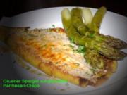 Gefüllte-Parmesan-Crépe mit grünem Spargel - Rezept