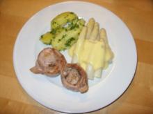 D: Schweinefilet im Baconkleid mit Spargelspitzen - Rezept